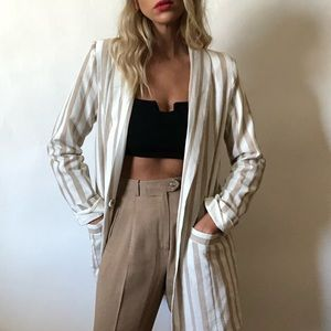 {J.O.A.}  striped long blazer